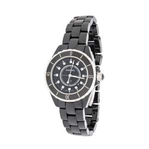Chanel Black Ceramic Stainless Steel Diamond J12 Women's Wristwatch 33 mm