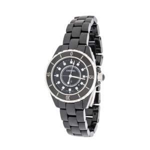 ساعة يد نسائية شانيل  J12 ألماس ستانلس ستيل سوداء 33 مم
