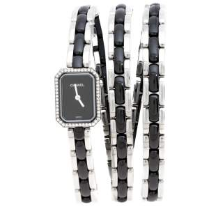 Chanel Black Ceramic Stainless Steel Diamond Premiere Women's Wristwatch 15 mm