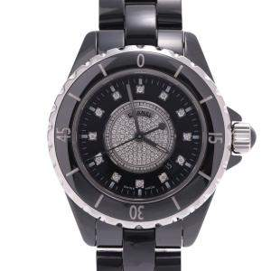 Chanel Black Diamonds Ceramic And Stainless Steel J12 H2122 Women's Wristwatch 33 MM