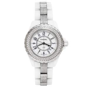 ساعة يد نسائية شانيل J12 ألماس سيراميك بيضاء 34 مم