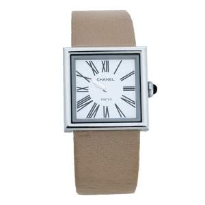 ساعة يد نسائية شانيل مادموازيل ستانلس ستيل بيضاء 22 مم