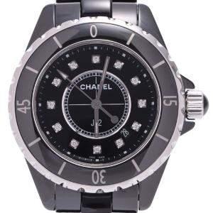 Chanel Black Diamonds Ceramic J12 Quartz H1625 Women's Wristwatch 33 MM