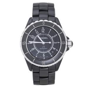 """ساعة يد نسائية شانيل """"جي12"""" سيراميك أسود و ستانلس ستيل 39 مم"""