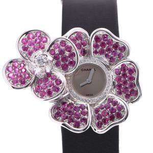 Chanel Silver Pink Diamonds 18K White Gold Camellia J1949 Quartz Women's Wristwatch 33 MM