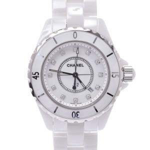 Chanel White Diamonds Ceramic J12 H1628 Women's Wristwatch 33 MM
