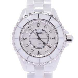 Chanel White Diamond Ceramic J12 H2422 Quartz Women's Wristwatch 33 MM