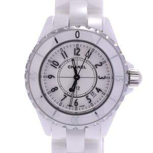 Chanel White Stainless Steel And Ceramic J12 H0968 Quartz Women's Wristwatch 33 MM