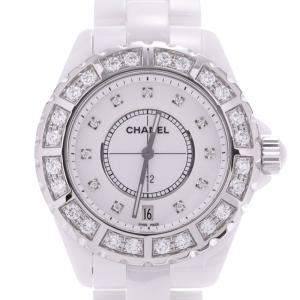 Chanel White Diamonds Ceramic J12 H2430 Women's Wristwatch 38 MM