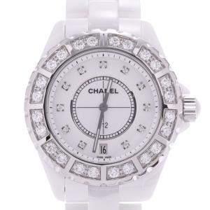 Chanel White Diamonds Ceramic J12 H2430 Women's Wristwatch 38 MM