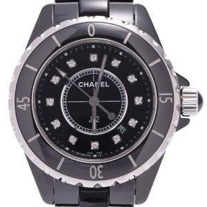 Chanel Black Diamonds Ceramic J12 H1625 Quartz Women's Wristwatch 33 MM