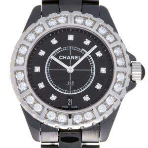 Chanel Black Diamonds Ceramic J12 H2428 Quartz Women's Wristwatch 38 MM
