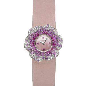 Chanel Pink Pink Sapphire And 18K White Gold Camelia H1652 Women's Wristwatch 27 MM
