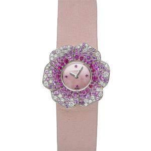 ساعة يد نسائية شانيل كاميليا H1652  ذهب أبيض عيار 18 وزفير وردية 27 مم