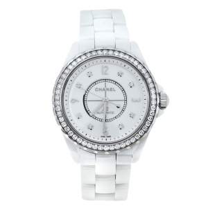 Chanel White Ceramic Stainless Steel Diamond J12 Women's Wristwatch 39 mm