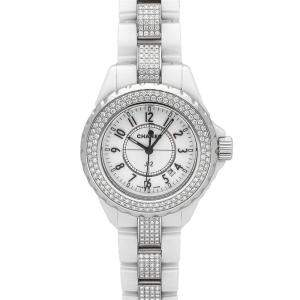 Chanel White Ceramic And Stainless Steel J12 H1420 Women's Wristwatch 33 MM