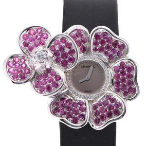 Chanel Silver Pink Diamonds 18K White Gold Camellia J1949 Quartz Women's Wristwatch 33 MM