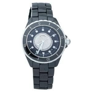 Chanel Black Ceramic Stainless Steel Diamond Ceramic J12 H1757 Unisex Wristwatch 38 mm