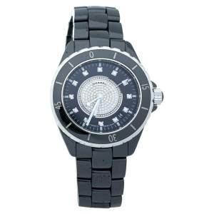 ساعة يد للجنسين شانيل سيراميك ألماس ستانلس ستيل J12 H1757 سوداء 38 مم