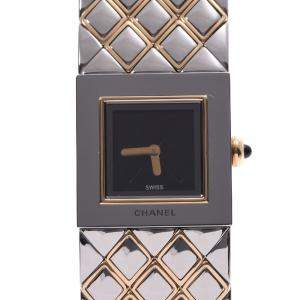Chanel Black Gold Tone Stainless Steel Matelasse Quartz Women's Wristwatch 18 MM