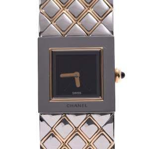 Chanel Black Gold Tone Stainless Steel Matelasse Quartz Women's Wristwatch 18 MM