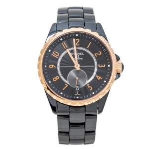 Chanel Black Gold Tone Black Ceramic Stainless Steel J12 H3838 Women's Wristwatch 36 mm