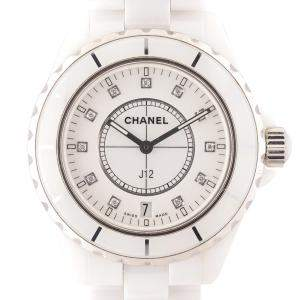 Chanel White Diamonds Ceramic J12 H2125 Women's Wristwatch 38 MM