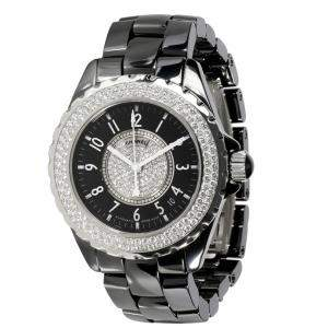 Chanel Black Diamonds Stainless Steel And Ceramic J12 H1709 Women's Wristwatch 38 MM