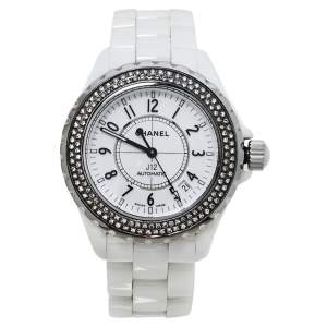 Chanel White Diamonds Ceramic J12 Automatic Women's Wristwatch 39MM