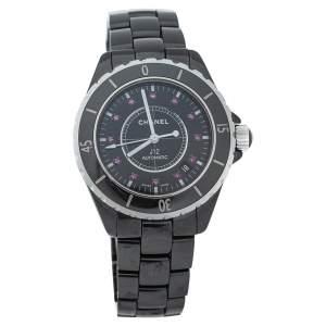 ساعة يد نسائية شانيل أوتوماتيك جي12 ياقوت سيراميك أسود 38 مم