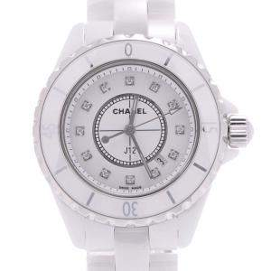 Chanel White Ceramic And Stainless Steel Diamonds J12 H1628 Quartz Women's Wristwatch 33 MM