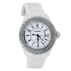 Chanel White Stainless Steel & Ceramic Diamonds J12 Women's Wristwatch 39 mm