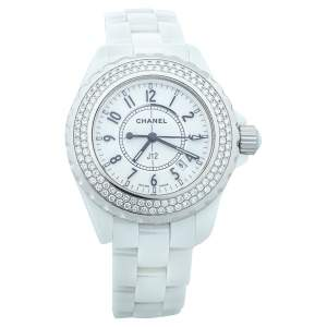 Chanel White Ceramic & Stainless Steel Diamonds J12 Women's Wristwatch 33 mm