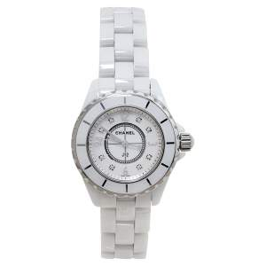 Chanel Mother Of Pearl Stainless Steel & Ceramic Diamonds J12 Women's Wristwatch 34 mm