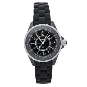 Chanel Black Ceramic & Rubber J12 H0681 Unisex Wristwatch 33 mm