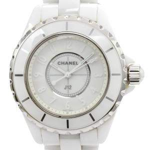 Chanel White Ceramic J12 Quartz H3442 Women's Wristwatch 33 MM