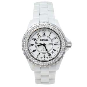 Chanel White Stainless Steel Ceramic Diamonds J12 Automatic Women's Wristwatch 39 mm