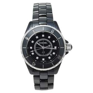 Chanel Black Ceramic & Stainless Steel Diamonds J12 Women's Wristwatch 33 mm
