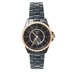ساعة يد نسائية شانيل جي12 أتش3838 أوتوماتيك سيراميك و ذهب وردي عيار 18 سوداء 37 مم