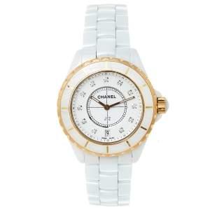 Chanel White 18K Yellow Gold & Ceramic J12 H2181 Women's Wristwatch 39 mm