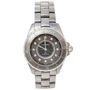 Chanel Grey Ceramic and Stainless Steel J12 Women's Wristwatch 38 MM