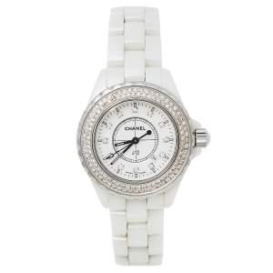 Chanel White Ceramic and Stainless Steel Diamond J12 Women's Wristwatch 33 MM