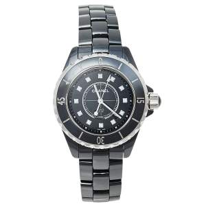 Chanel Black Ceramic and Stainless Steel J12 Women's Wristwatch 33 mm