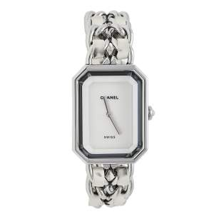 Chanel Mother of Pearl Stainless Steel Leather Premiere H1639 Women's Wristwatch 26mm x 20mm