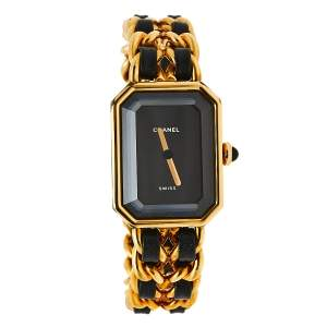 Chanel Black Gold Plated Stainless Steel and Leather Premiere H0001 Women's Wristwatch 20 mm