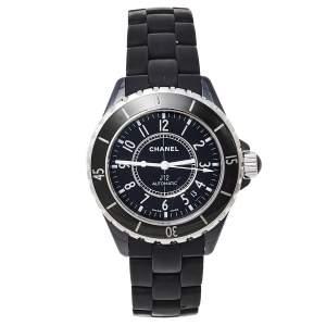 ساعة يد نسائية شانيل مطاط J12 سيراميك سوداء 38مم