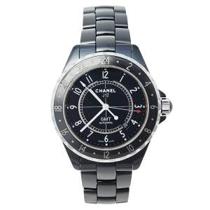 Chanel Black Stainless Steel J12 GMT H3101 Automatic Unisex Wristwatch 42 mm