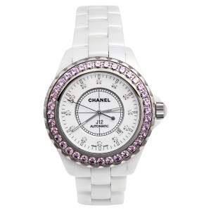 ساعة يد نسائية شانيل J12 H3243 سيراميك الماس بيضاء ياقوت وردي 42 مم