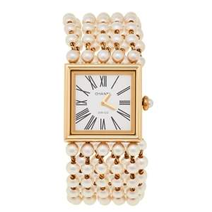 Chanel White 18K Yellow Gold Cultured Pearl Mademoiselle H0007 Women's Wristwatch 23 mm