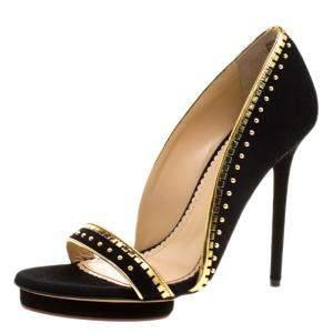 Charlotte Olympia Black Suede Christine Stud Embellished Open Toe Sandals Size 40